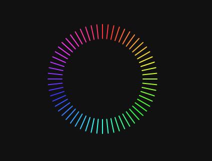 css3 由线条组成的渐变光环 渐变色圆环形进度条
