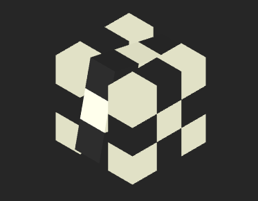 js 3d黑白魔方自动旋转动画